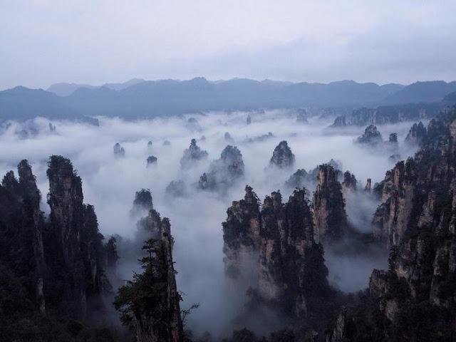 Bồng lai tiên cảnh mờ ảo trong sương khi lên đến đỉnh thang máy