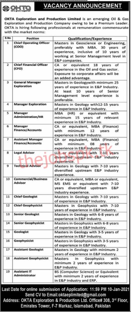 Latest OKTA Exploration and Production Limited Management Posts 2021