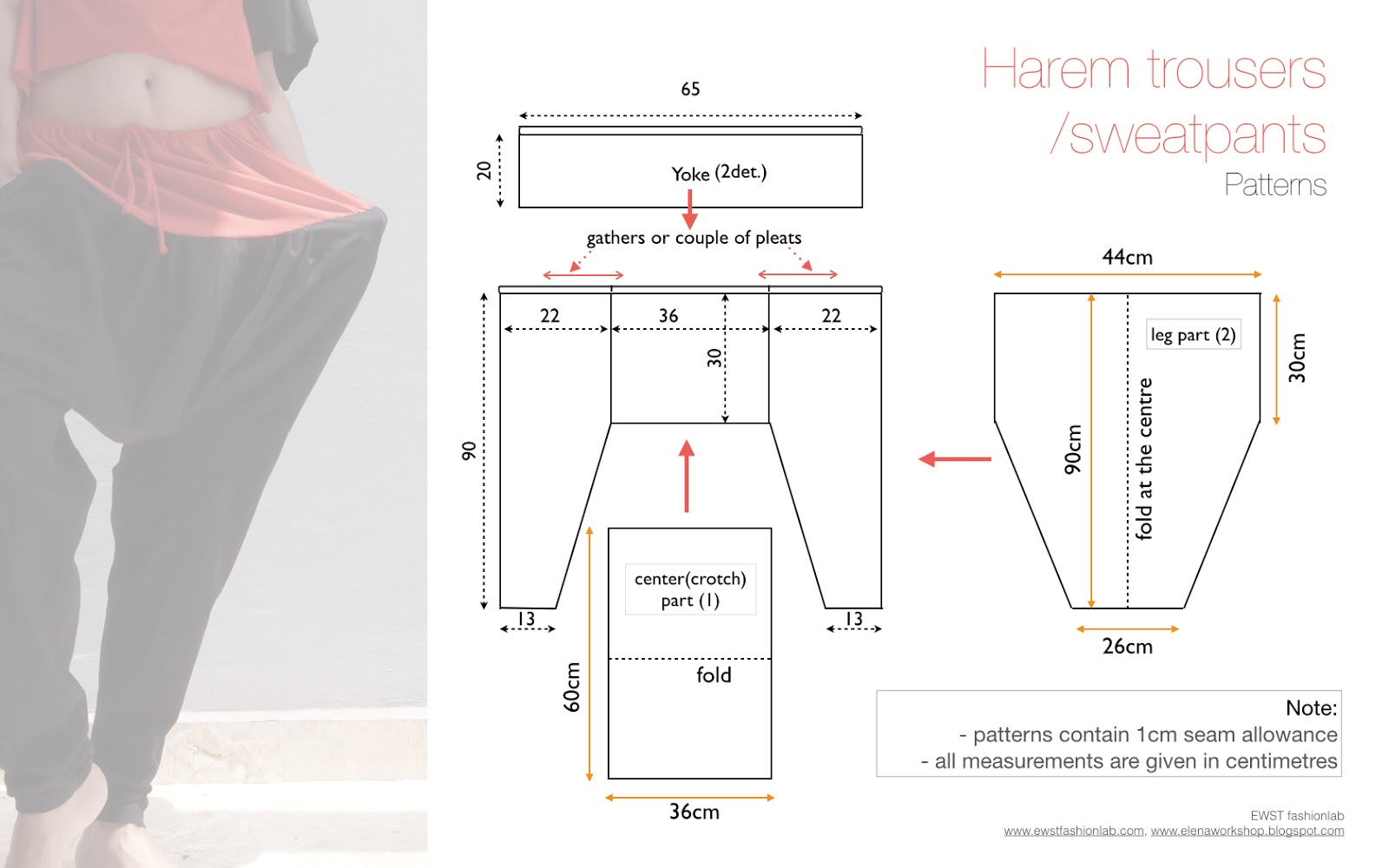 Drawstring harem trousers: sewing patterns | Elena Fashion Design ...