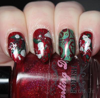 holo christmas splatter nails