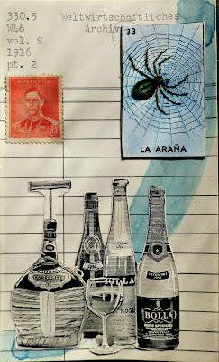 Chicago cocktail bar Logan square La arana spider mexican lottery card Australian postage stamp Italian wine bottles library card Dada Fluxus mail art collage