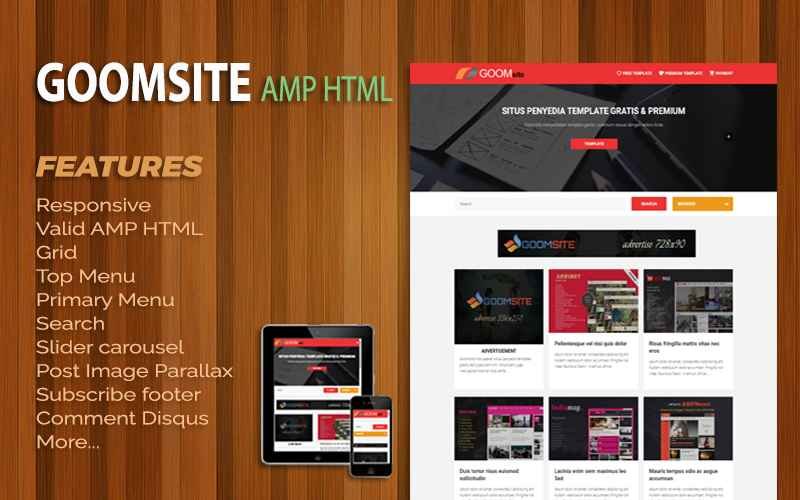 Goomsite AMP HTML Responsive Blogger Template