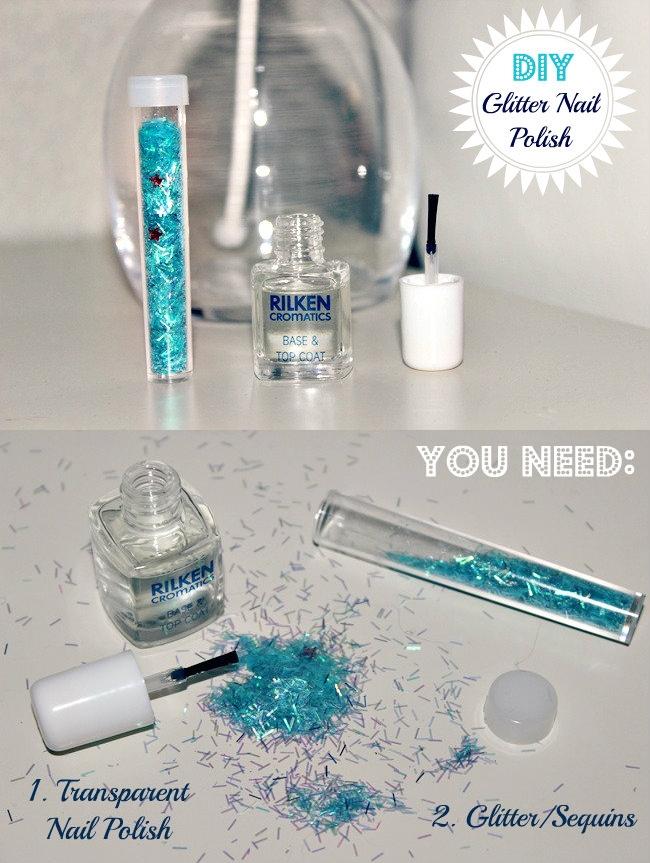 DIY Glitter Nail Polish, DIY sequins nail polish