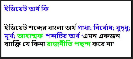Idiot meaning in bengali