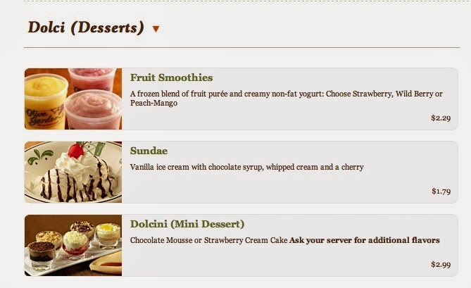 and for dessert - Olive Garden Prices