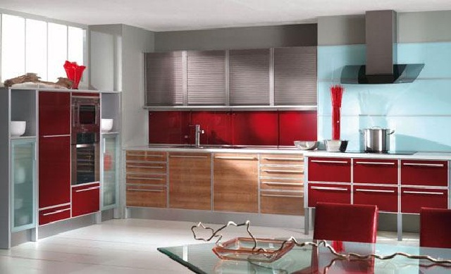 Modular Kitchen Cabinet Red
