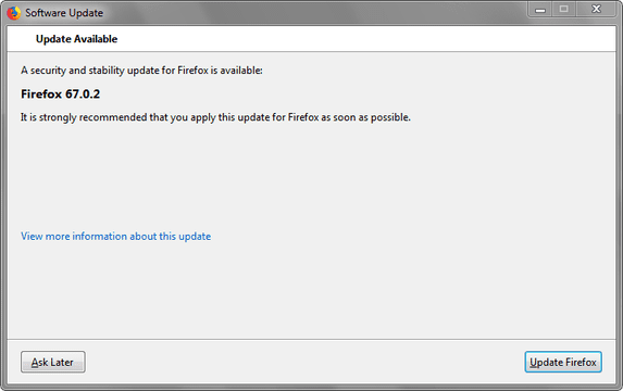 software update window