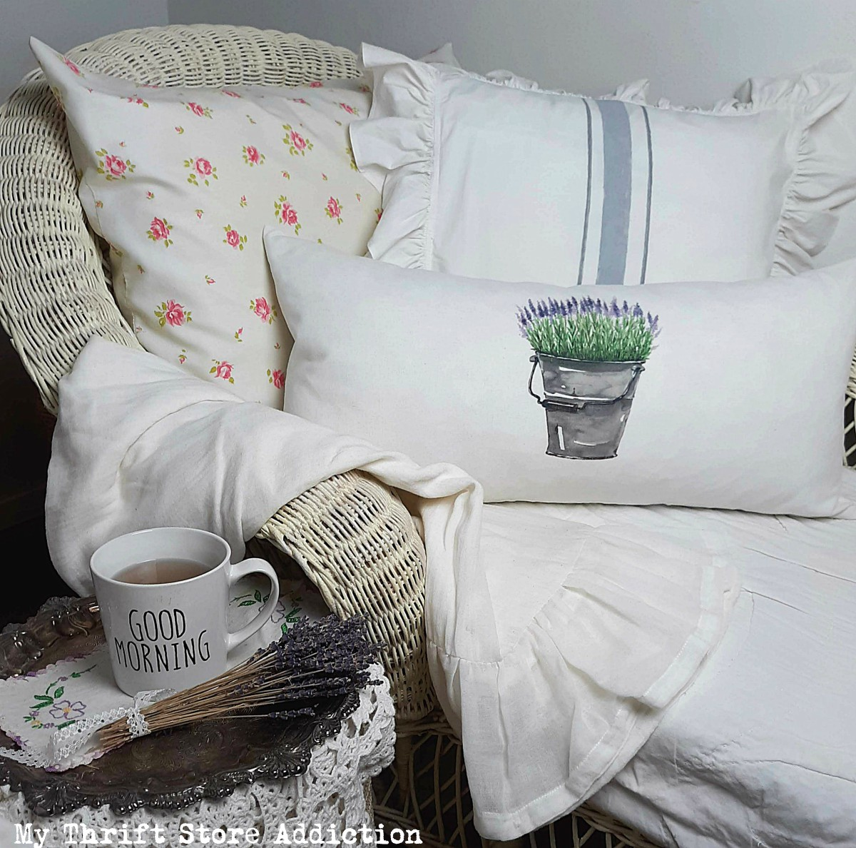 farmhouse pillow repurposed from flour sack towel