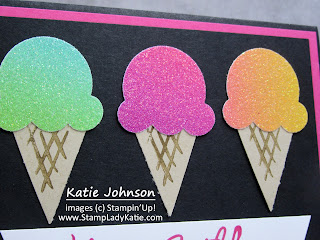 Card with a trio of ce cream cones made with Stampin'Up Ice Cream Cone Builder Punch and Rainbow Glimmer Paper