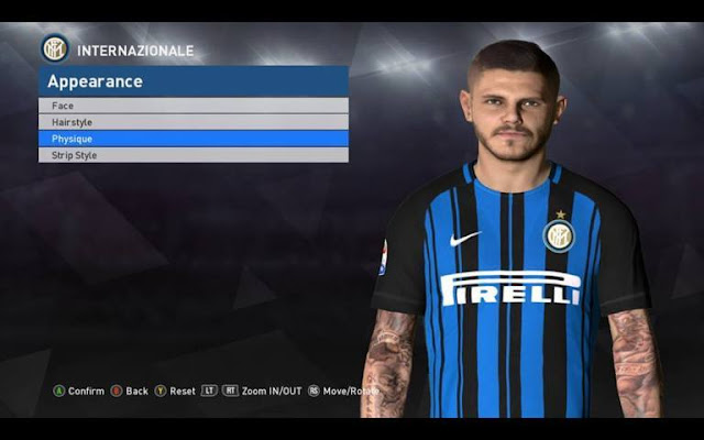 Mauro Icardi Face with Tattoo PES 2017