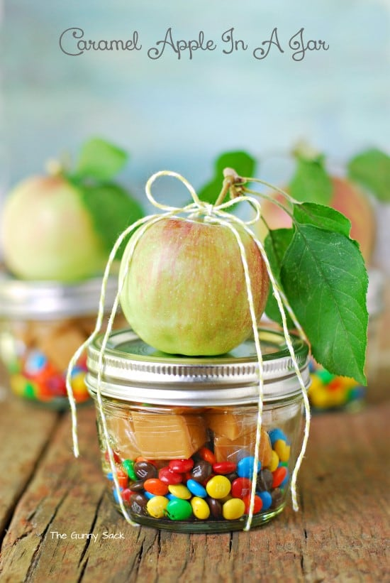 carmel apple in a jar