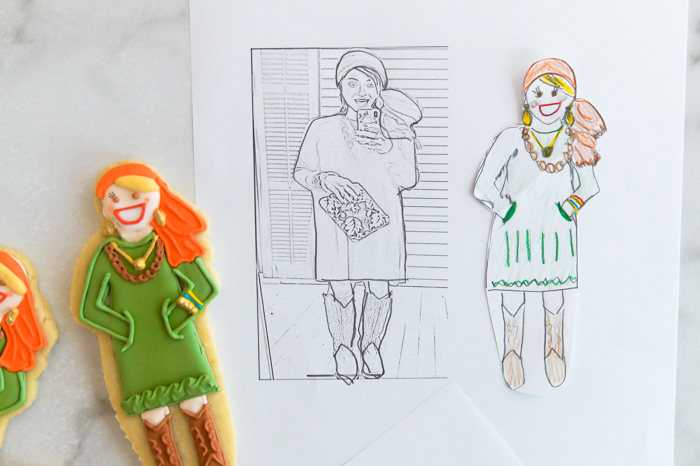 how to make custom portrait cookies without a projector