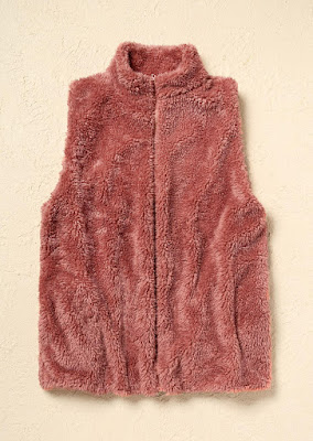 Warm Faux Fur Zipper Sleeveless Vest Coat - Red