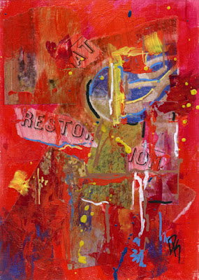 art abstract acrylic paper rust red