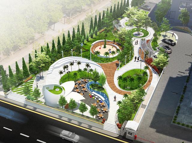 Cảnh quan khuôn viên dự án nhìn từ trên cao