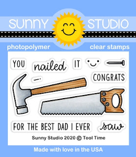 Sunny Studio Blog: Tool Time Nail, Hammer & Saw Father's Day 2x3 Clear Photopolymer Stamp Set