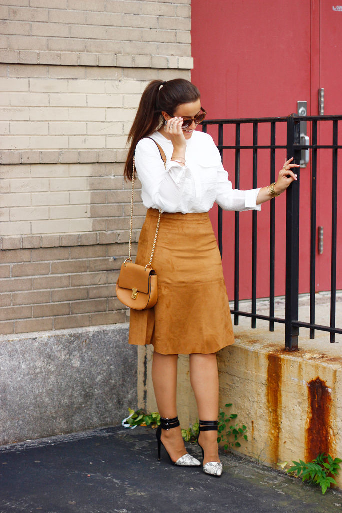 2f378f84a5 SUEDE COGNAC A-LINE SKIRT   Styled by FREIDY