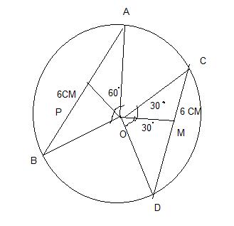 (3) O केंद्रीय वृत्त में अब AB और CD दो जिवाओं की लम्बाई समान है। ㄥAOB = 60° एवं CD = 6 से० मी० होने से वृत्त की त्रिज्या की लम्बाई ज्ञात करे।