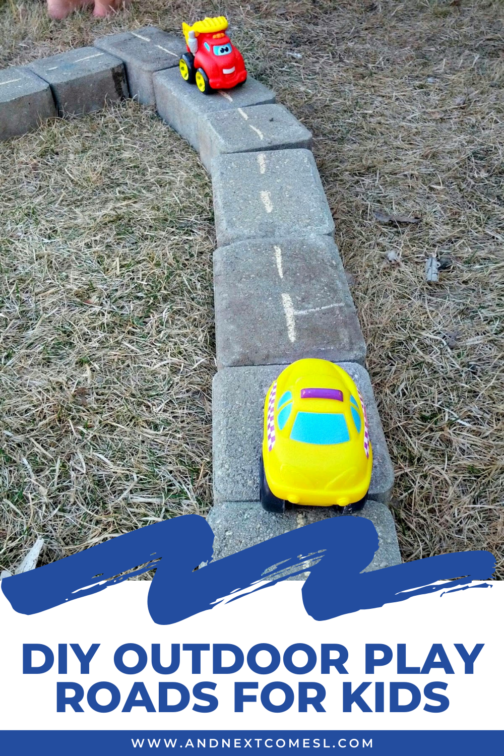 The easiest DIY outdoor play roads for kids ever - great activity for toddlers and preschoolers to play with in the backyard!