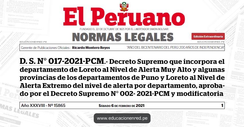 D. S. N° 017-2021-PCM.- Decreto Supremo que incorpora el departamento de Loreto al Nivel de Alerta Muy Alto y algunas provincias de los departamentos de Puno y Loreto al Nivel de Alerta Extremo del nivel de alerta por departamento, aprobado por el Decreto Supremo N° 002- 2021-PCM y modificatoria