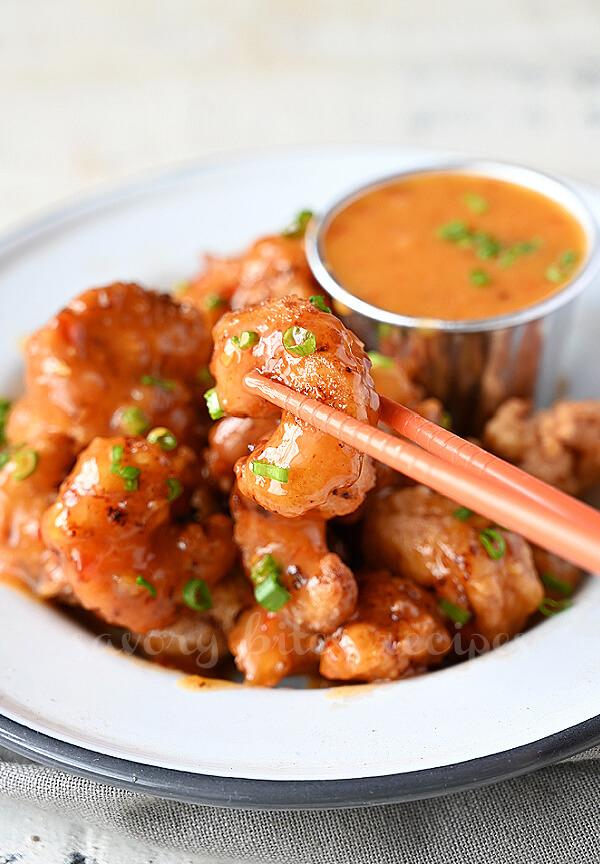 bang bang shrimp served with bang bang sauce