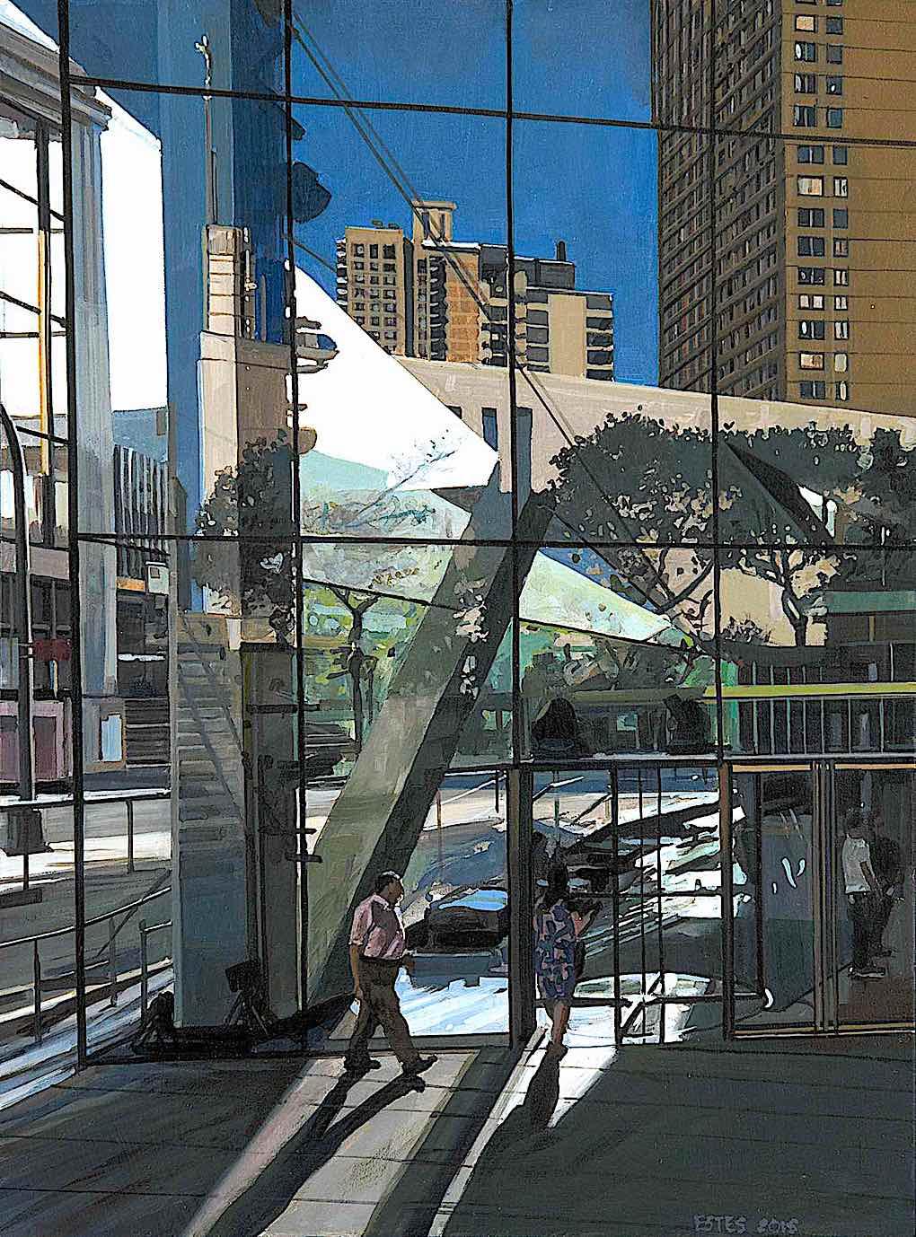 Richard Estes realism art, a painting of an urban scene