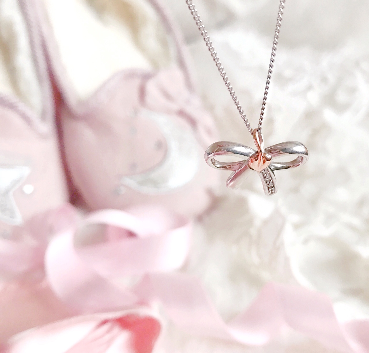 Love, Catherine | Mococo Clogau, Silver Bow Necklace