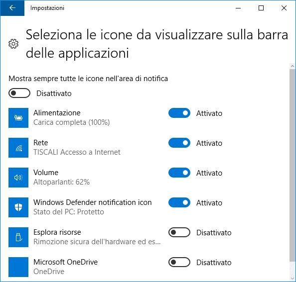 Windows 10 nascondere visualizzare icona sulla barra applicazioni