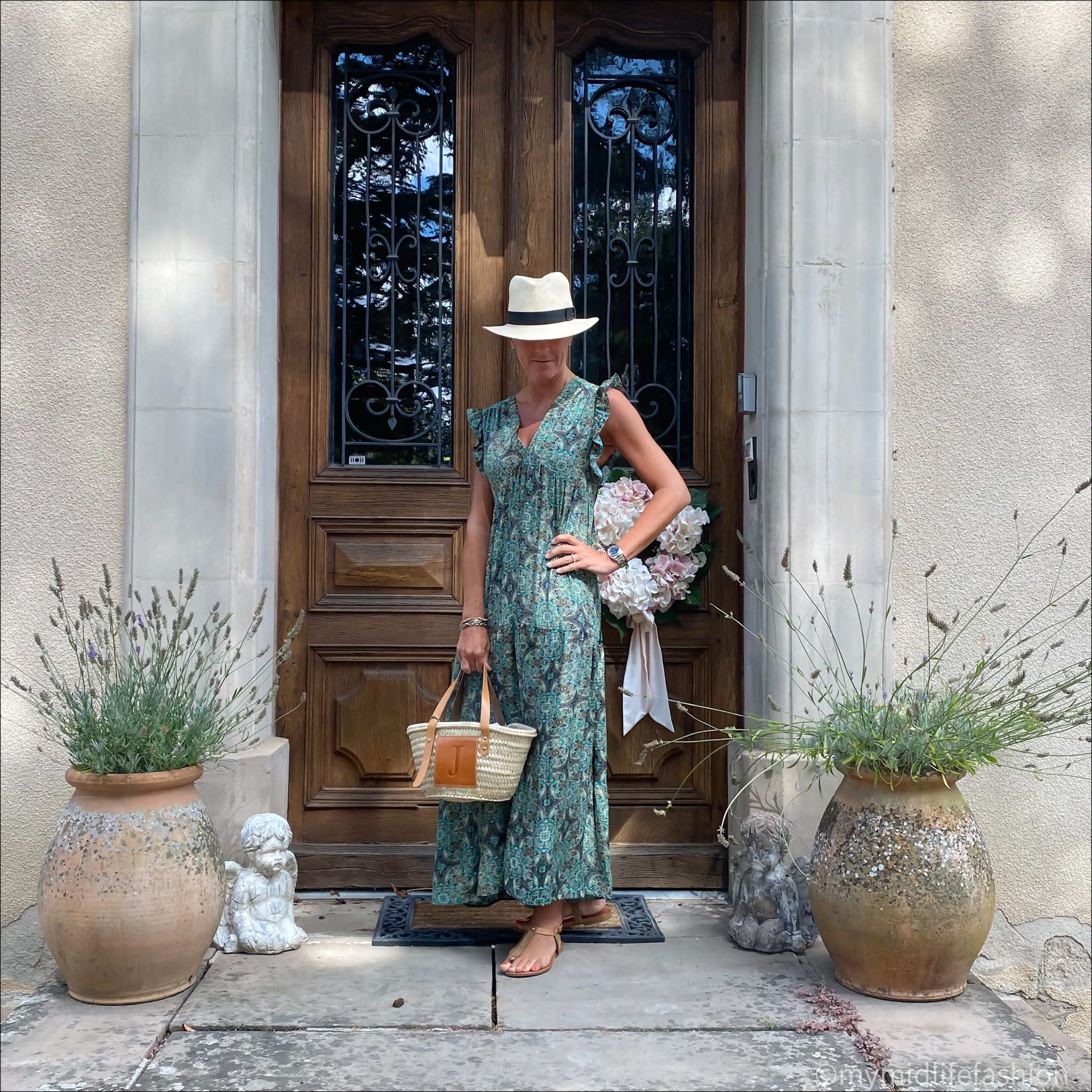 my midlife fashion, h and m Panama hat, lada jewelry monogrammed basket, carvela leather thong sandals, patterned maxi dress
