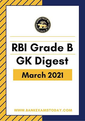 RBI Grade B GK Digest: March 2021