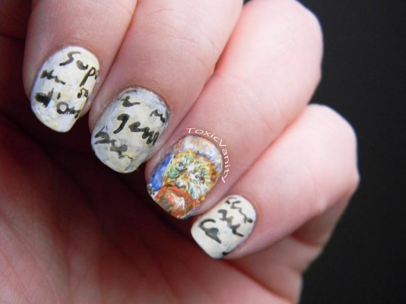 Día 24 : Uñas decoradas inspiración Van Gogh / Van Gogh nail art ...