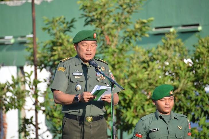 Kasrem 141/Tp, Pimpin Upacara Bendera Dilanjutkan Latihan Pasang Sangkur