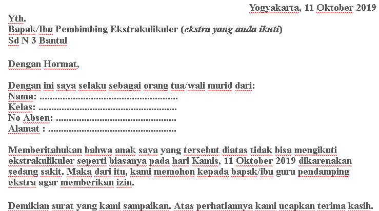 contoh surat izin tidak masuk esktrakulikuler eskul