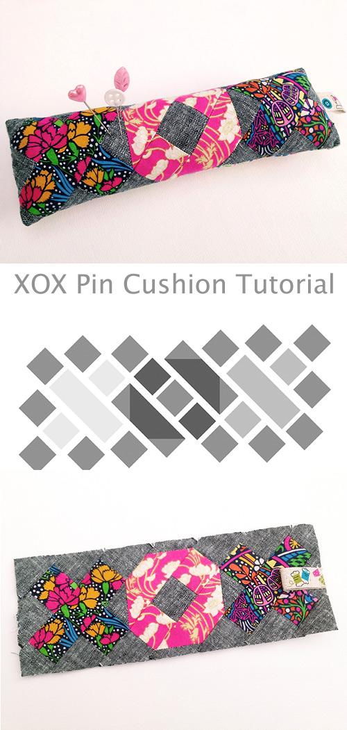 The XOX Pin Cushion. Patchwork Tutorial