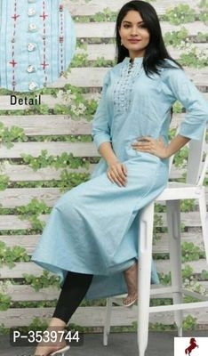 New In !! Cotton Embroidered Long Kurti