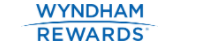 Image shows screenshot of Wyndham Rewards  blue logo on white background