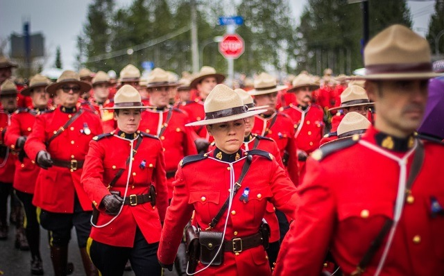 Canadian troops marching