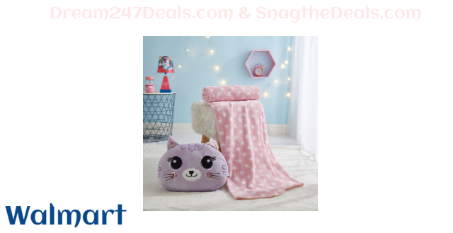 Kitty Pillow and Throw Set for Kids by Heritage Club