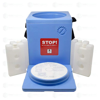termo azul celeste vacunas nilkamal 1,6 litros tapa abierta paquetes frios dos huecos
