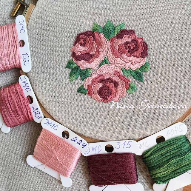 вышитые розы мулине
