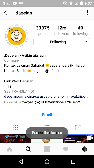 Cara Turn On Post Notifikasi Pada Instagram