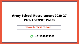 Army School Recruitment 2020-27 Teacher  Posts