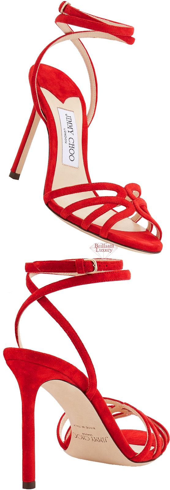 Jimmy Choo Mimi Red Suede Wrap Around Sandal #brilliantluxury
