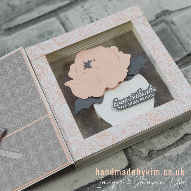 Stampin' Up! Prized Peony Stamp Set & Peony Dies Shadow Box Book Card Tutorial