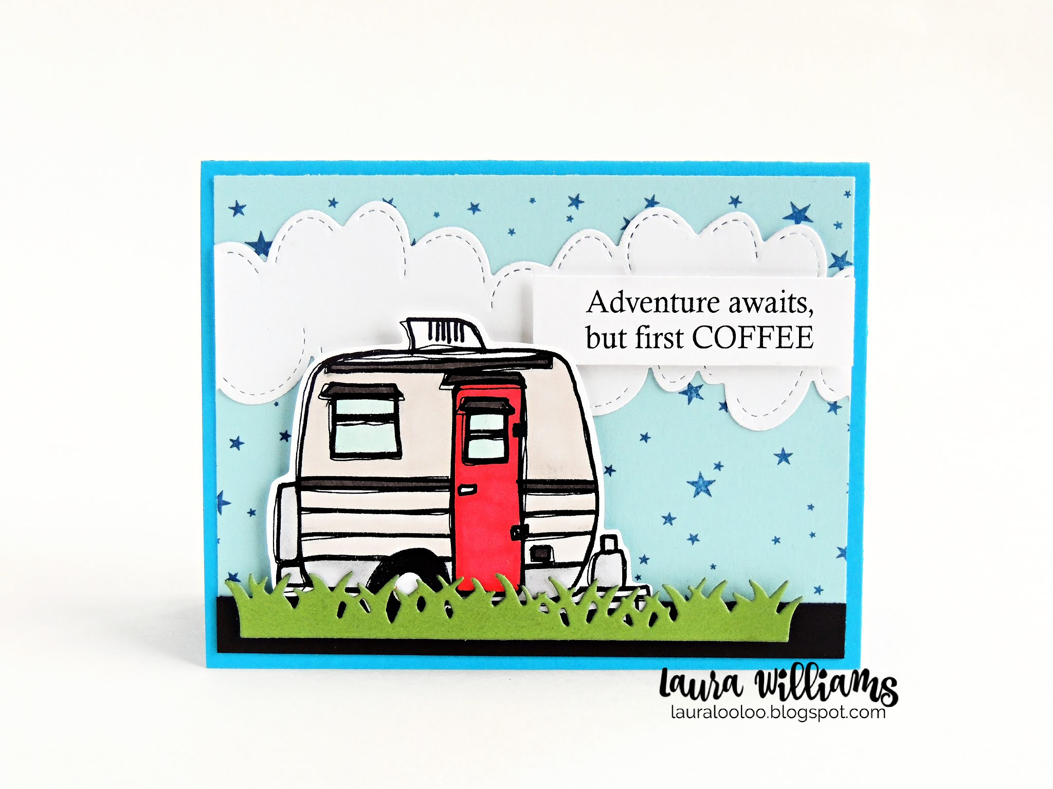 Adventure awaits, but first coffee! This handmade card with a cute camper and coffee sentiment is fun for a variety of occasions. The die cut clouds and starry sky make the perfect finishing touch. You'll love making cards and paper crafts with these products from Impression Obsession. Stop by my blog to see more ideas and more details about this card!