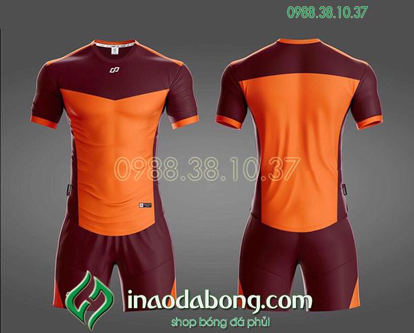 Áo bóng đá ko logo CP KC màu cam