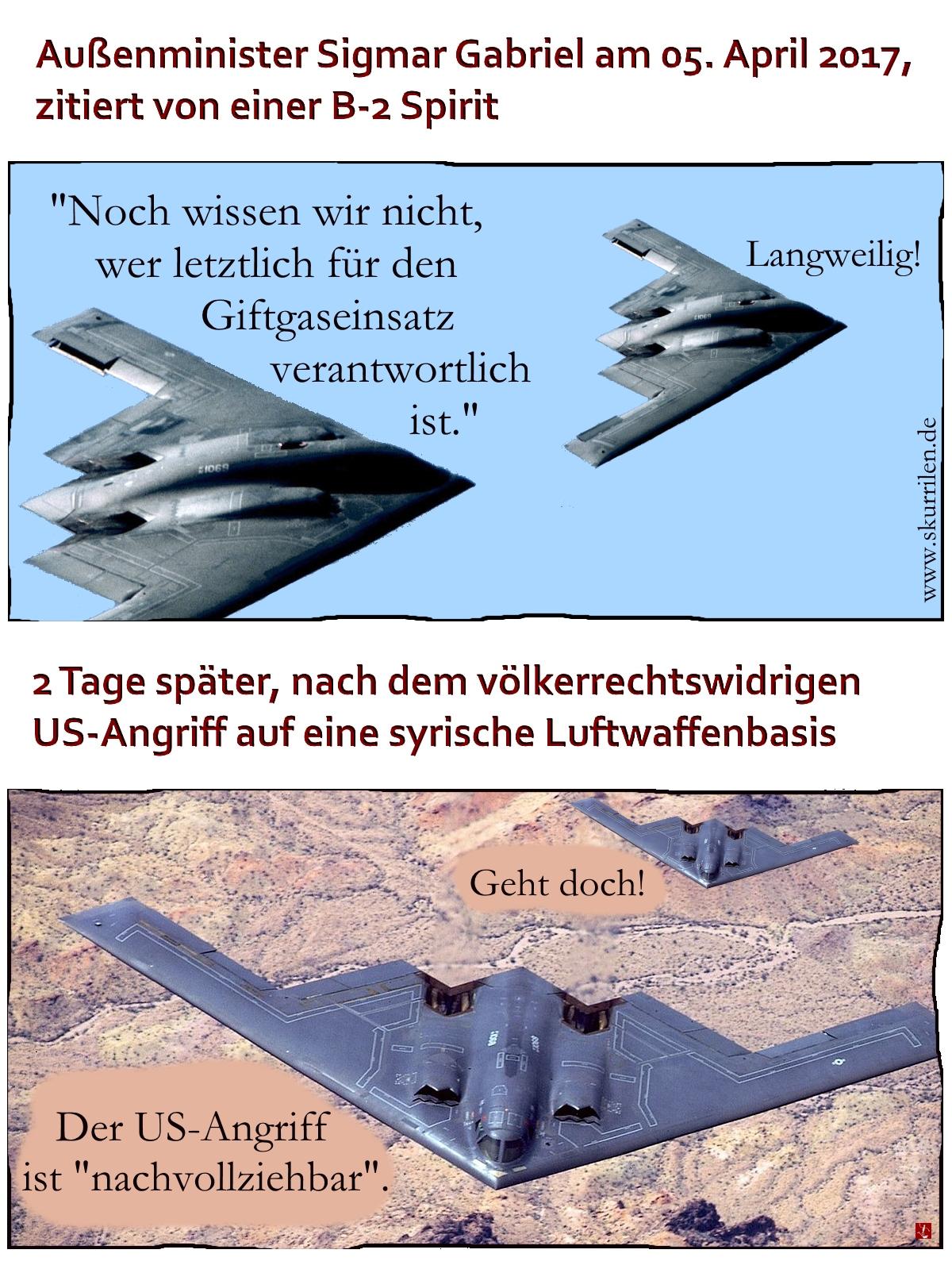 Syrien Krieg Bomber B-2 Spirit Außenpolitik Militär USA Angriff Giftgas Schuldfrage