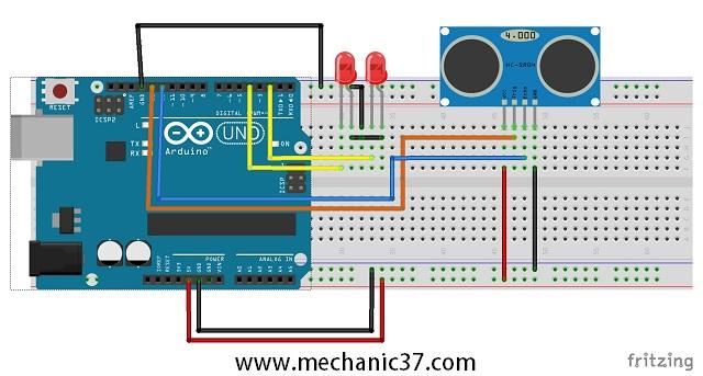 distance sensor hc-sr04 और arduino led के लिए circuit