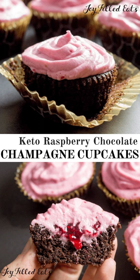 Keto Raspberry Chocolate Champagne Cupcakes