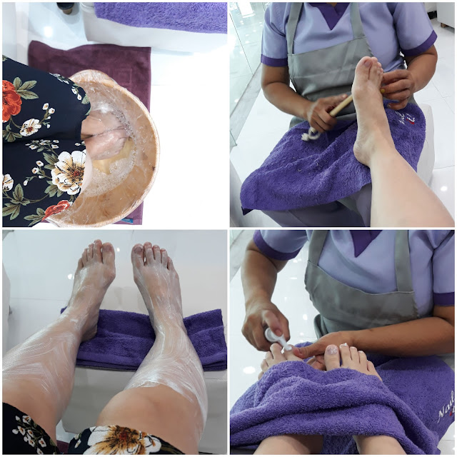 Pampering Feet.    It was foot spa and pedicure.
